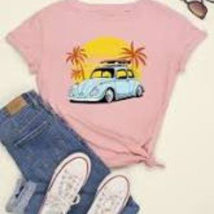 Blush pink T-shirt with car
